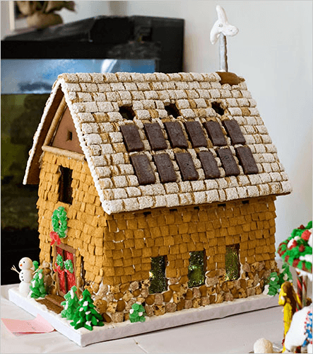 gingerbread house with solar panels